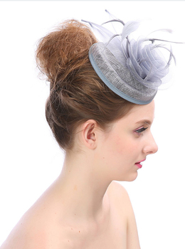 New Style Handmade Feather Mesh Bridal Hat Headdress Elegant Party Hat for Lady Wedding/Party Decoration 1