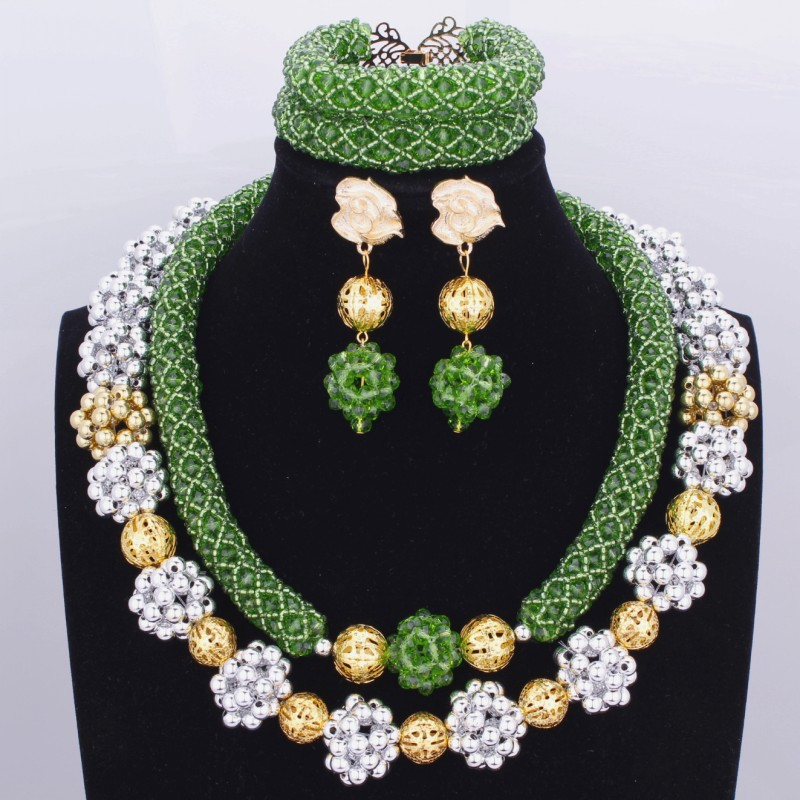 2018 New Green Dubai Costume Jewelry Set Plated Gold And Silver Balls Necklace Bracelet Earrings Set For Bridal Wedding Party