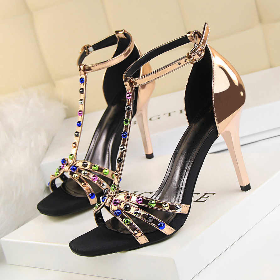 1eb5459e7a6f ... 2019 Summer Women 9cm High Heels Rhinestone Sandals Female Fetish  Gladiator Crystal Gem Heels Shoe Lady ...