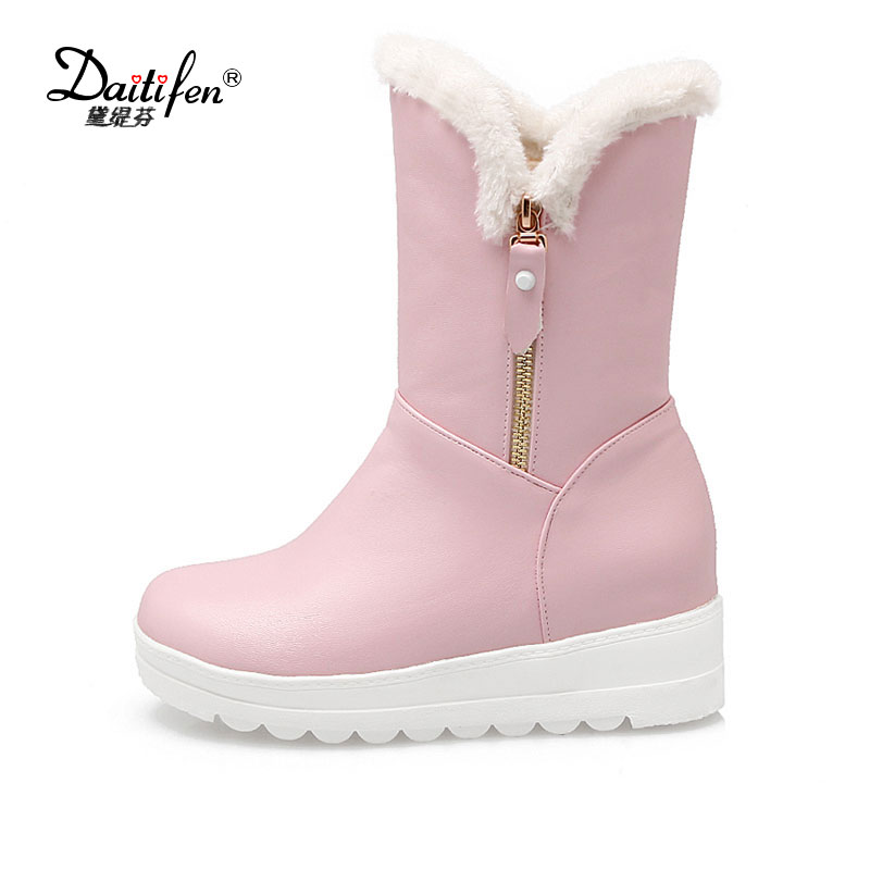 Daitifen Hot Sale Shoes Women Boots Solid Slip-On Soft Cute Women Snow Boots Round Toe Flat with Winter Fur Ankle Boots 2017 new arrival hot sale women boots solid bowtie slip on soft cute women snow boots round toe flat with winter shoes wsz31
