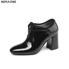 NEMAONE New Women Shoes Genuine Leather Shoes woman Office Career Shoes lace up High Heels Work Pumps Lady Shoes