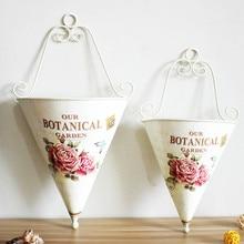 2PCS/LOT Pastoral Style Tin Wall Hanging Basket for Artificial Flower Storage Vase Flower arranging art Plant Holder Photo Props
