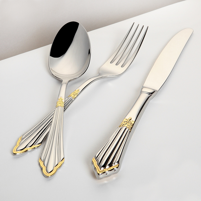 Gold Cutlery Set Luxury Flatware Sets Stainless Steel Table Knife Fork Spoon 24pcs Dining Set Dinner Sets Western Dinnerware Set