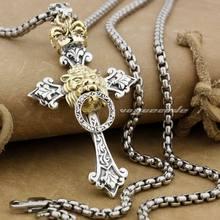 Linsion rasta bronze coroa leão 925 prata esterlina cruz dos homens biker rock punk pingente 9f023