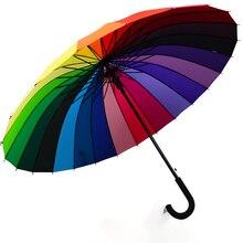 Curved Handle 24k Rainbow Umbrella Kids Girls Parasol Windproof Rain Women Sun Shade Parapluie Ghibli Strong 50KO028