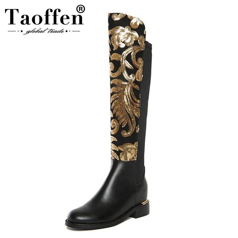 Taoffen 크기 34 42 여성 부츠 정품 가죽 인쇄 지퍼 라운드 발가락 무릎 여성 부츠 빈티지 성숙한 신발 여성 신발-에서무릎 - 하이 부츠부터 신발 의  그룹 1