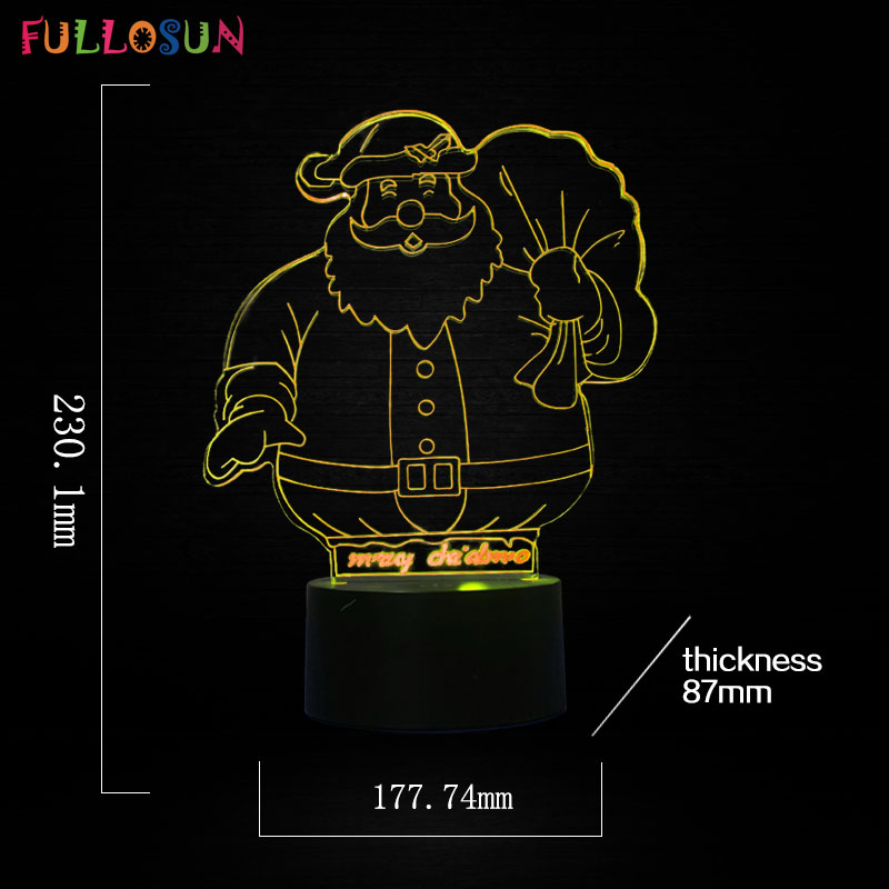 Santa Claus 3D Table Lamp LED USB 3D Lights Kids Chritmas Gift Toy Night Light as Home Decoration