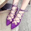 Women Fashion personality low Shoes Flats Casual Pointed Toe cross strappy Suede Gladiator Flat Shoes Zapatillas Mujer Baok-1654