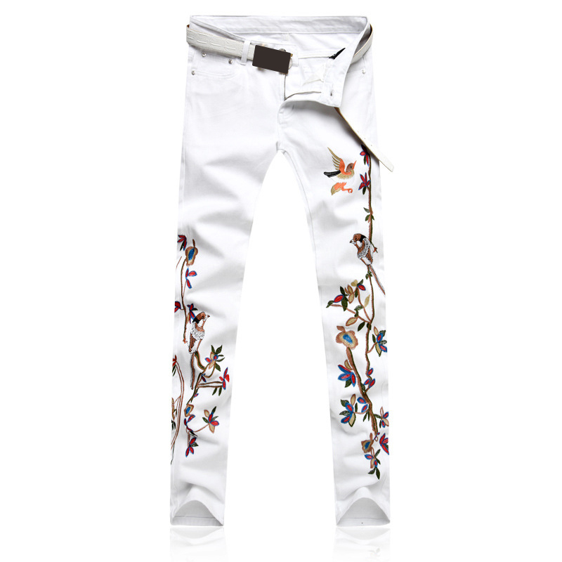 Men's Pants New White Embroidery Personality Fashion Men   Jeans   Slim Stretch Embroidery Floral Casual Trousers   Jeans   Hombre