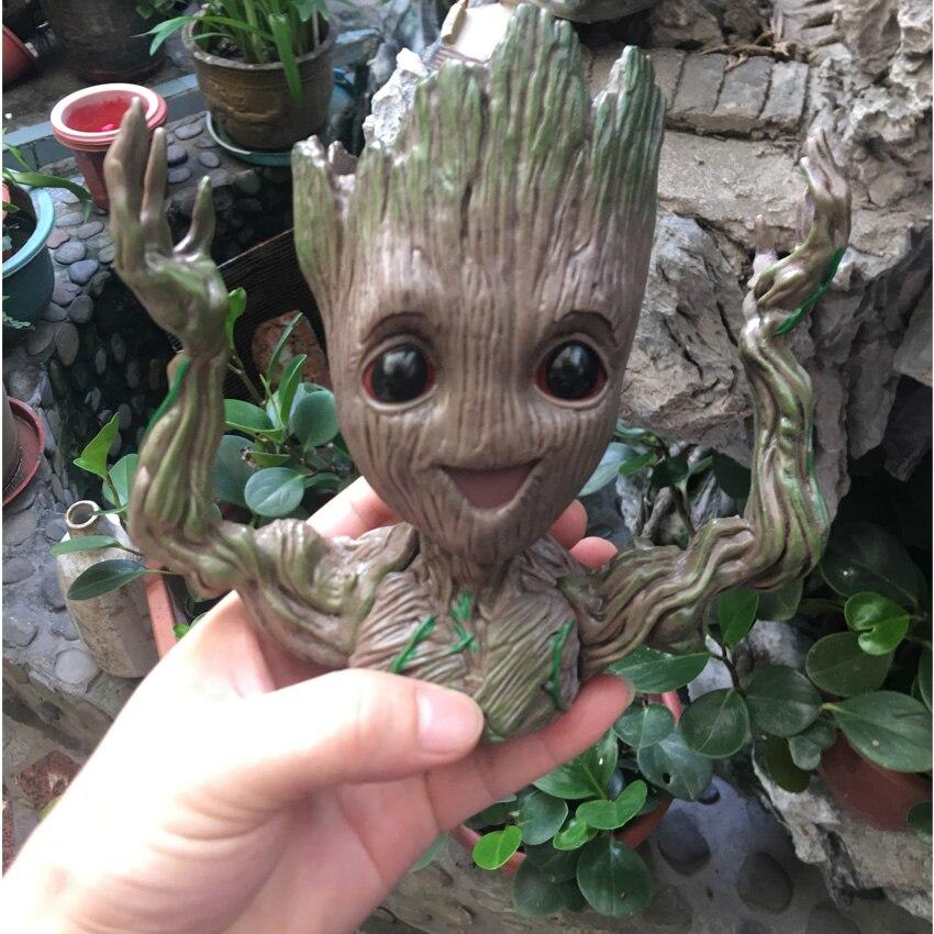 Groot Pot Skull Flower Vase Handmade Baby Action Figure Penholder Resin Anime