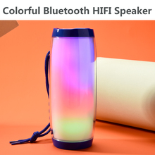 New Colorful LED Lights Bluetooth Speaker HIFI Stereo Wireless Portable Speaker Support Microphone USB TF and FM