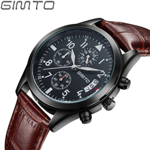 2016 GIMTO Top Brand кварцевые часы Повседневная Бизнес Часы Мужчины Кожаный ремешок водонепроницаемый Кварцевые Часы Авто Дата Часы Montre Homme