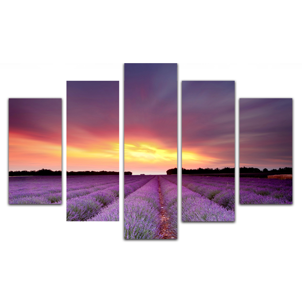 Unframed Canvas Painting Purple Lavender Garden Photo Picture Prints Wall Picture For Living Room Wall Art Decoration