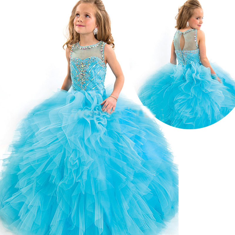 2016 Hot Ball Gown Kids Wedding Dresses Beading Puffy Junior Pageant ...