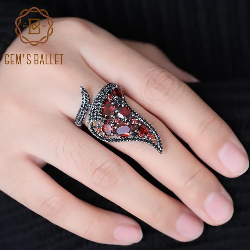 GEM'S BALLET Natural Red Garnet Gemstone Vintage Open Finger Irregular Triangle Ring 925 Sterling Sliver Ring For Women Jewelry