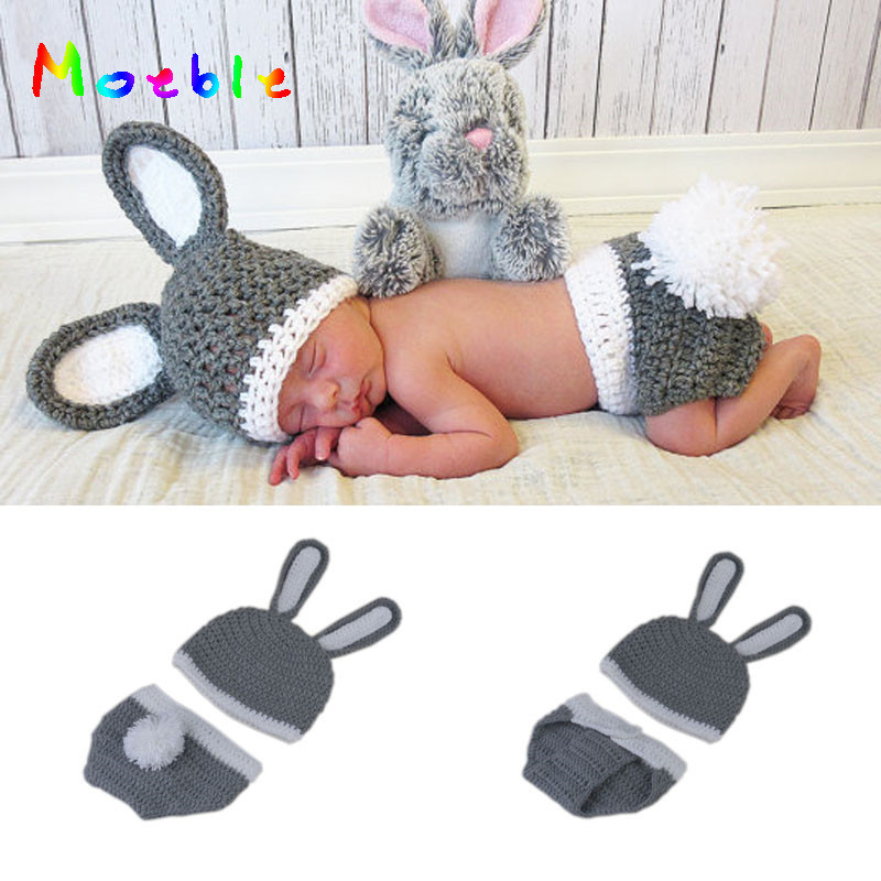 2018 New Bunny Rabbit Newborn BABY Photography Props Easter Rabbit Infant Baby Photo Prop Crochet Photography Props MZS-16085 seiko настольные часы seiko qhg038gn z коллекция настольные часы