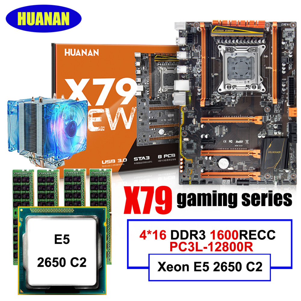 Motherboard CPU RAM FAN Combos HUANAN Deluxe X79 Motherboard Xeon E5 2650 C2 With CPU Cooler RAM 64G(4*16G) DDR3 1600MHz RECC