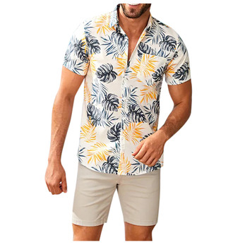 Summer Mens Hawaiian Shirts Fashion Stand Collar Strip Print Short Sleeve Shirt Top Streetwear Camisa Masculina Chemise Homme 1