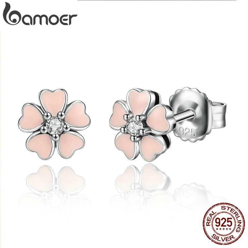 BAMOER, 925 пробы, серебряное, розовое сердце, цветок, женские серьги-гвоздики, женские модные ювелирные изделия, дружба, подарок на Новый год, SCE028-1L