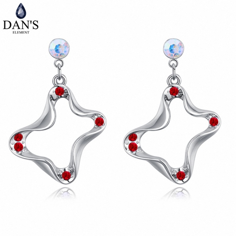 DANS 5 Colors Real Austrian crystals Stud earrings for women Earrings s New Sale Hot Round 129012