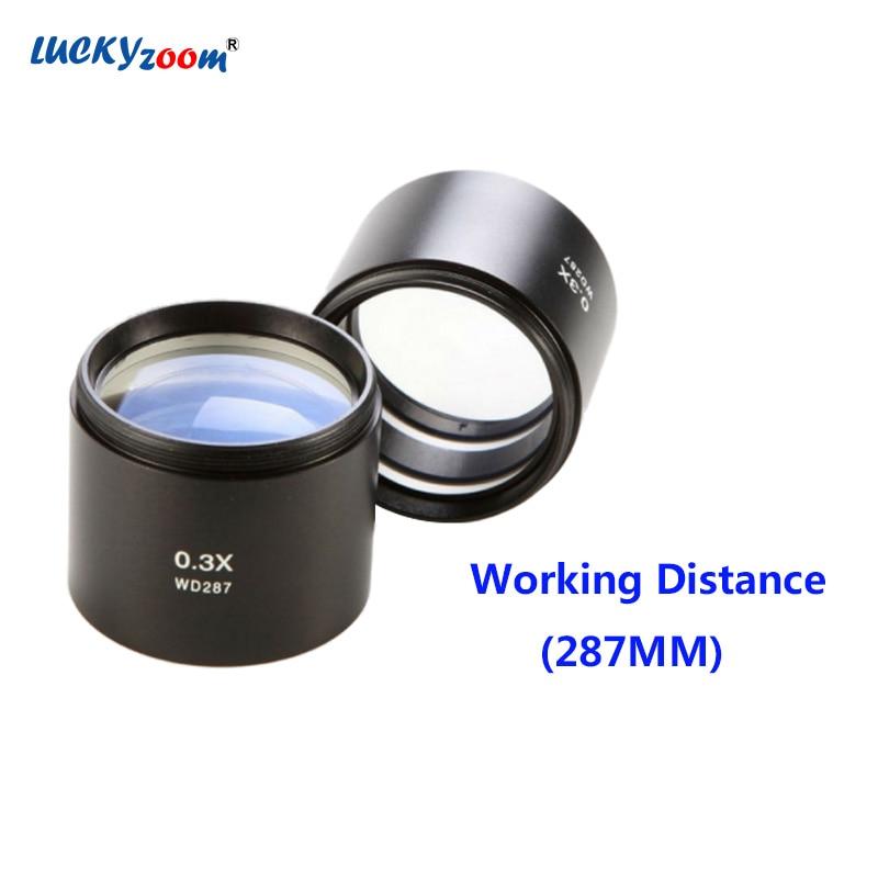 Luckyzoom 0.3X Ziel Objektiv Arbeitsabstand 287mm Stereo Zoom Mikroskop Trinocular Microscopio Zubehör Freies Verschiffen