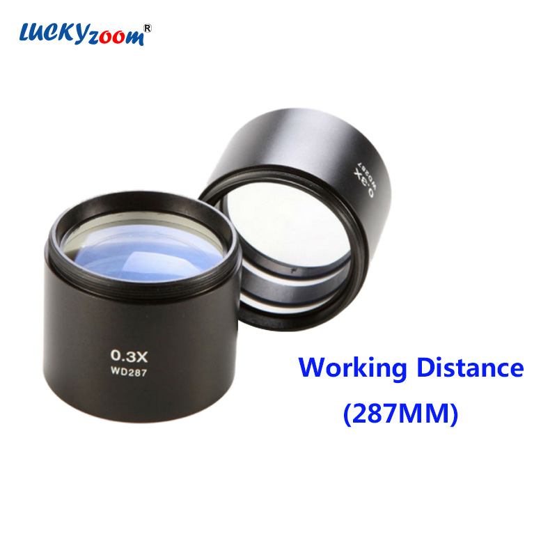 Luckyzoom 0.3X Objective Lens Working Distance 287MM Stereo Zoom Microscope Trinocular Microscopio Accessories Free Shipping wd 5002 5005 5010 5020 5050 infinity corrected long working distance objective