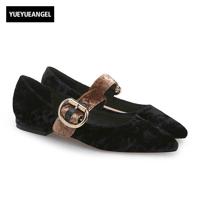 Vintage Slip On Shoes Women Loafers Retro Buckle Pointed Toe Comfort Flats Streetwear 2018 Spring Velvet Elegant Lady Footwear women ladies flats vintage pu leather loafers pointed toe silver metal design