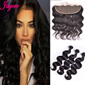Malaysian Body Wave With Frontal Closure 13x4 Ear To Ear Lace Frontal Closure With 3Bundles Human Hair Bundles With Full Frontal