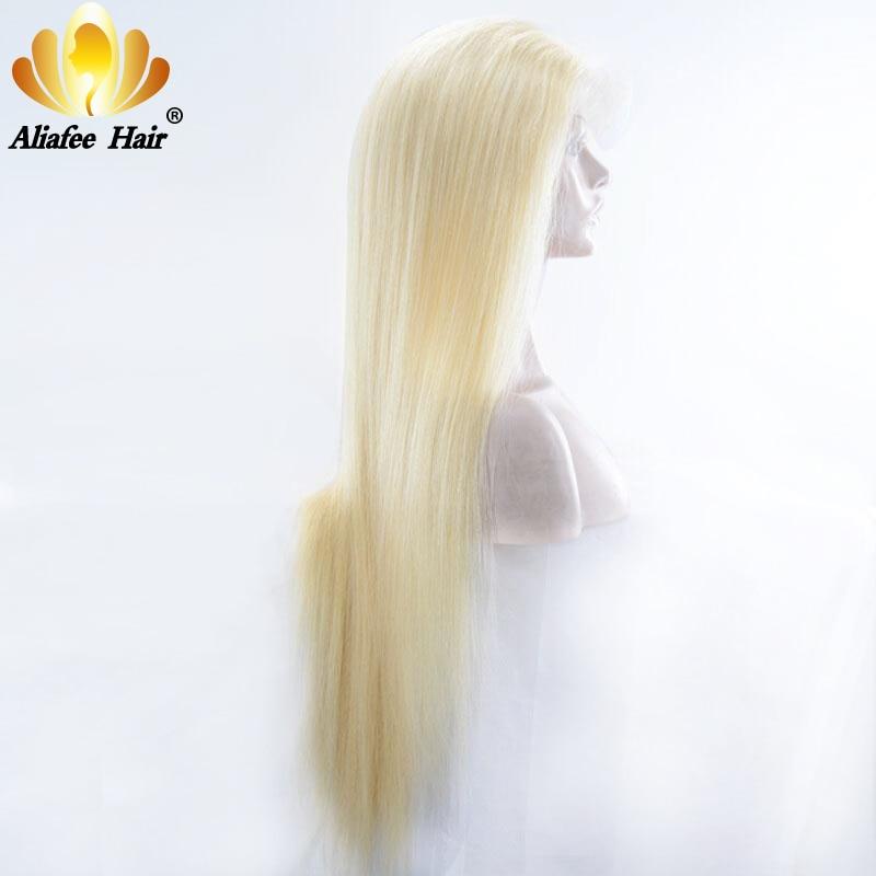 Cheveux AliAfee Blonde pleine dentelle perruques de cheveux humains 8-30 brésilien droite #613 #1b/613 couleur Ombre Remy perruque de cheveux 150%/180% densité