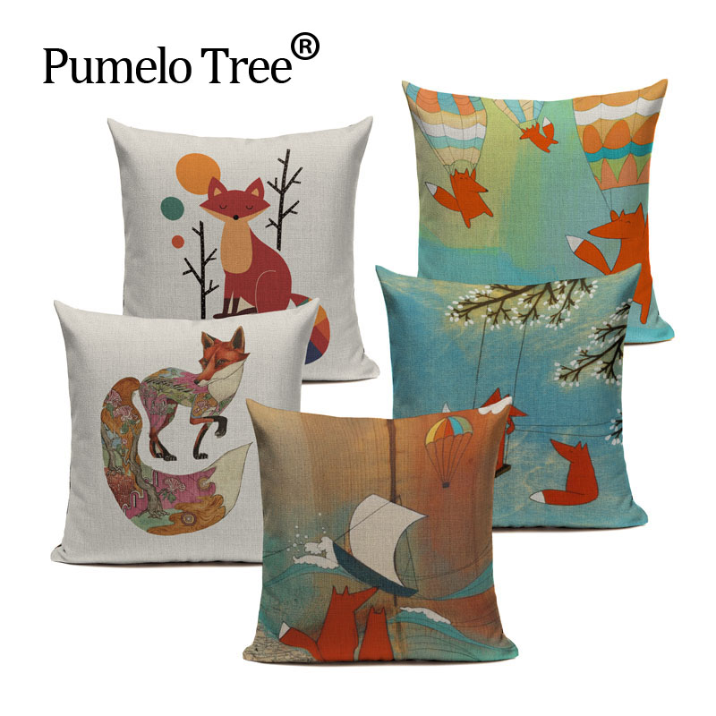 Fishion Cotton Lovely Fox Pattern Car Home Decorative Throw Pillows 45Cmx45Cm Rectangle Recliner Printed Cushion Cover
