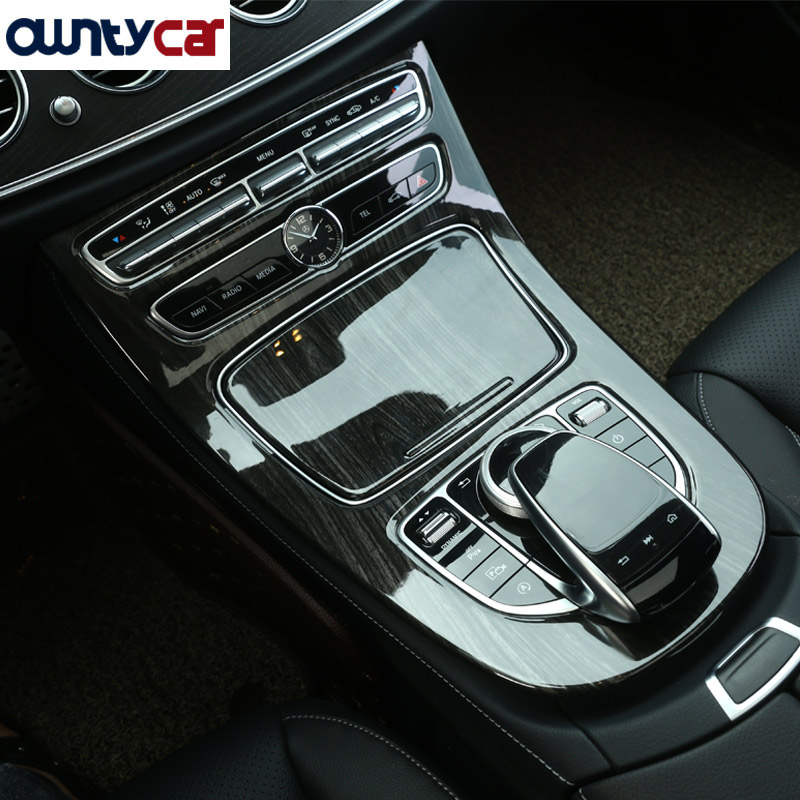 Black Ash Wood Style ABS Plastic Center Console Gear Panel Frame Cover Trim Stickers For Mercedes Benz E Class W213 2016 2017 carbon fiber style abs plastic for land rover range rover evoque 12 17 center console gear panel decorative cover trim newest