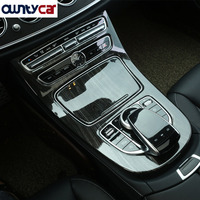 Black Ash Wood Style ABS Plastic Center Console Gear Panel Frame Cover Trim Stickers For Mercedes