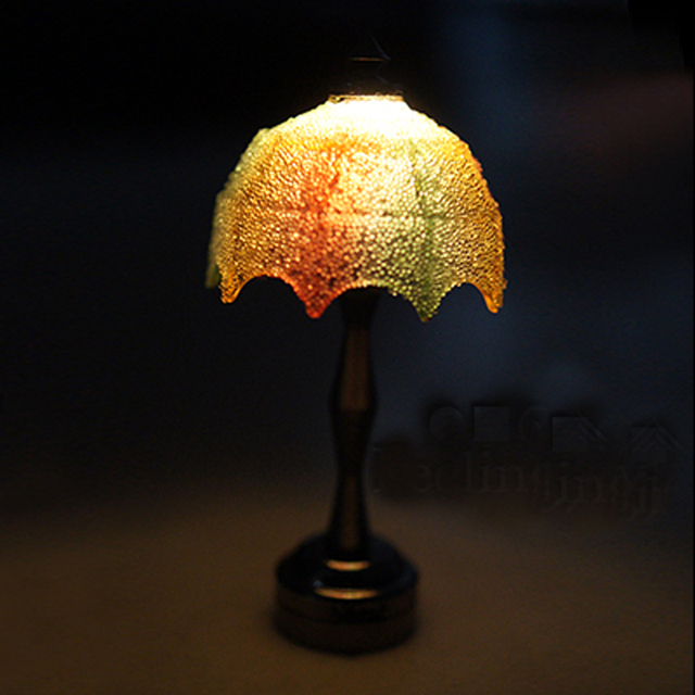 Mini 1/12 Miniature Dollhouse Lamps Desk LED Lights Wire free ...