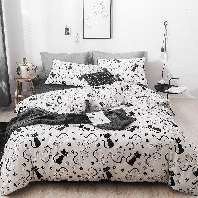 Cartoon noir blanc chat ensembles de literie enfants Beddingset twin queen king size linge de lit housse de couette drap de lit taie d'oreiller/lit S