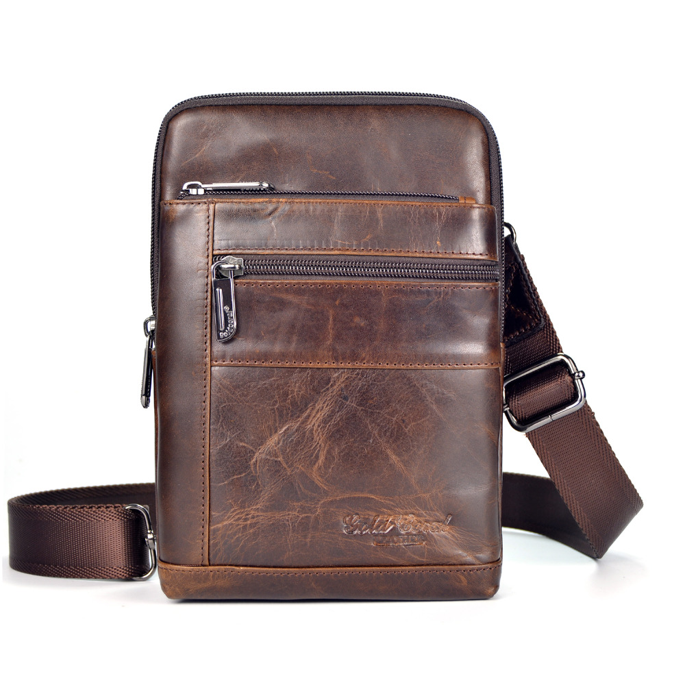 New Men Oil Wax leather First layer Cowhide Travel Cross Body Messenger Shoulder Fashion High Quality Sling Chest Bag high quality 2017 new style layer of import oil wax cowhide medium paragraph buckle leather wallet men s purse