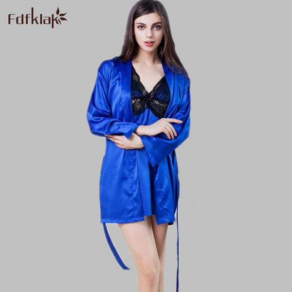 Sexy Lace Robe Ladies Sleepwear Set Satin Silk Bathrobes Sexi Dressing Gowns  For Women Spring Summer Womens Robes Sets A622 987a945f3