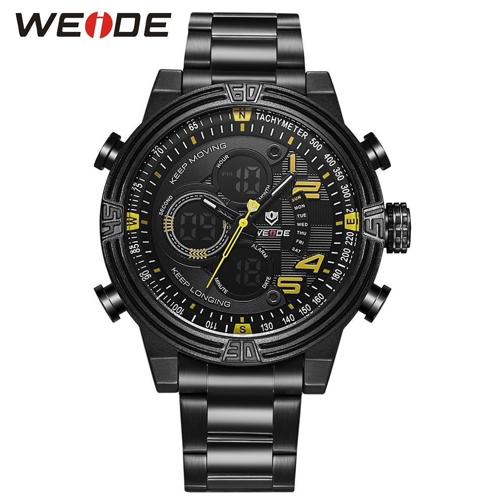 ФОТО WEIDE Shock Resista Business Yellow Watch for men  Quartz LCD Digital leather Movement Waterproofed Watch Men