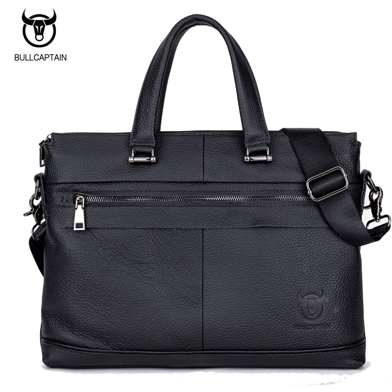 BULL CAPTAIN MEN's LEATHER BRIEFCASE FOR BUSINESS fashion famous brand soft handle tote shoulder bag 15 inch laptop bag #040 bull captain 2017 fashion genuine