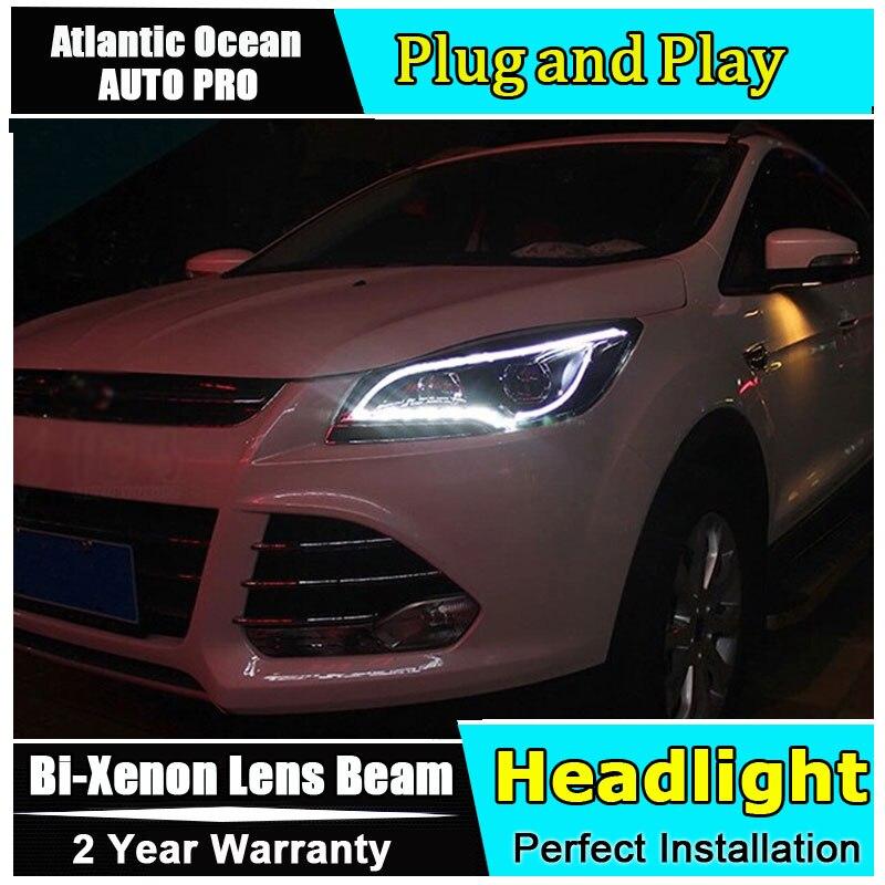 Авто.Про ксенон Н7 фары для Форд куга 2013 14 15 автомобилей стайлинг светодиодные направлять DRL HID комплект Би-ксенона двойной объектив фар для Ford