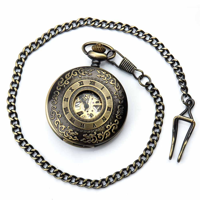 Retro Pocket Watch for Unisex Men Women Bronze Elegant Engraved Case Steampunk Skeleton Mechanical Movement With Chain Gift Box 8