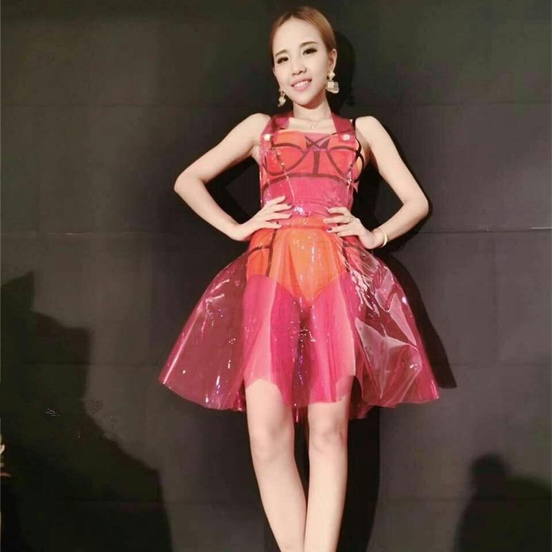Sexy Pvc Holographic Dress Womenxs Dress Vestido Summer Dress Women Clear Pvc Vinly Plastic