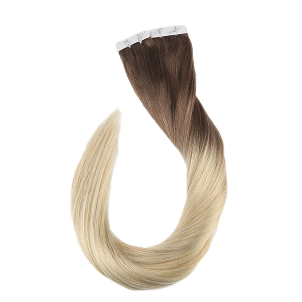 Full Shine Tape In Ombre Hair Extensions Glue Extensions Balayage Color 6B Fading To 613 Machine Remy Premium Hair 40 Pieces