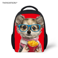 TWOHEARTSGIRL Lovely Chihuahua Dog Eating Printed Kids Schoolbag Polyester Fabric Harness Soft Handle Book Bag Child