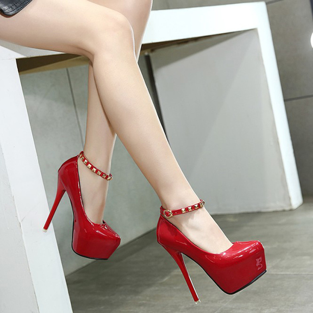 Plataforma de las mujeres talones negro punta redonda tobillo correa bombas zapatos de fiesta MPANqmFA