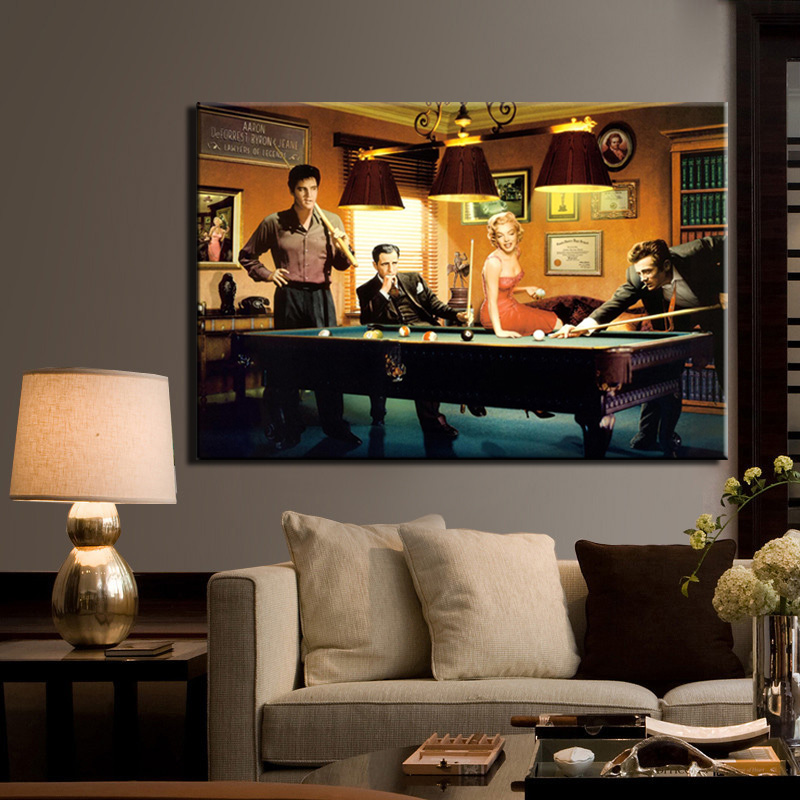 Modern Classic Poster Canvas Painting Elvis Presley, Humphrey Bogart, - Heminredning - Foto 2