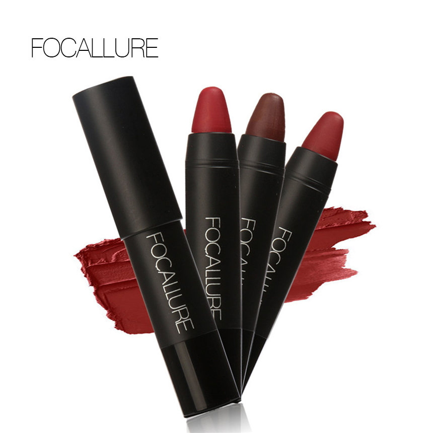 FOCALLURE 3pcs/set Makeup matte Waterproof Red lipstick with long lasting effect Powdery Matte Soft Pencil Lipstick qibest 23colors set brand makeup matte proof lipstick long lasting effect soft waterproof matte lipsticks lip easy to wear