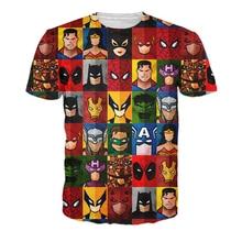 Drop Ship Newest Hipster 3D t shirt Funny Superhero Minimalism T Shirt Deadpool Superman Spider Man