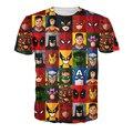 Navio da gota mais novo moderno 3D engraçado de minimalismo de Deadpool / Superman / homem aranha / Batman / Hulk t-shirt