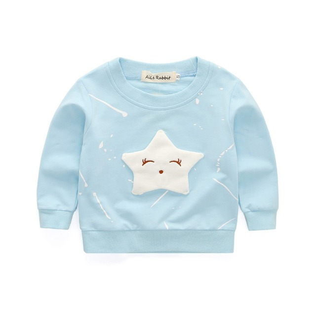 AiLe Rabbit  New Baby Girls Clothing Banner Star Girls  Long Sleeve T Shirt Children's Clothing  Casual Tops Tee Shirt k1