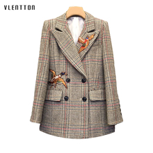 Spring Vintage Plaid Women's Jacket Blazer Double Breasted Animal Embroidery Long Blazer Femme Long Sleeve Office Blazer Women